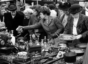 Bric-a-brac stall, Sneinton Market, Nottingham, Nottinghamshire, c1950. Artist: Edgar Lloyd