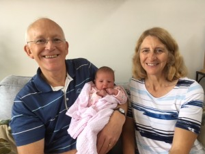 Professor Scott Murray, wife Mary and latest grandchild, Francesca