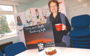 Sue Friston, Flinger, hosting a Death Cafe in Malvern